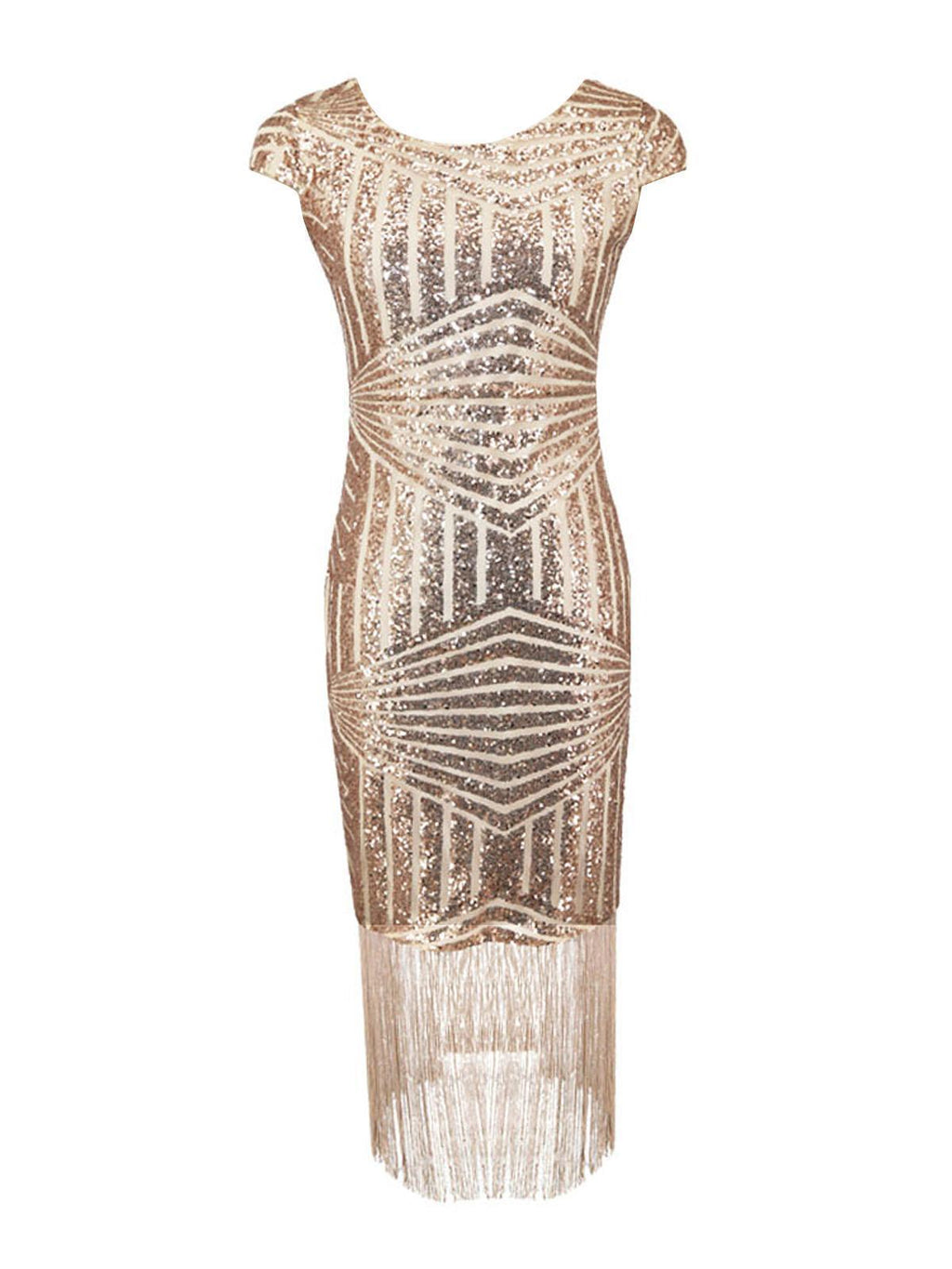 Pink 1920s Sequin Fringed Dress