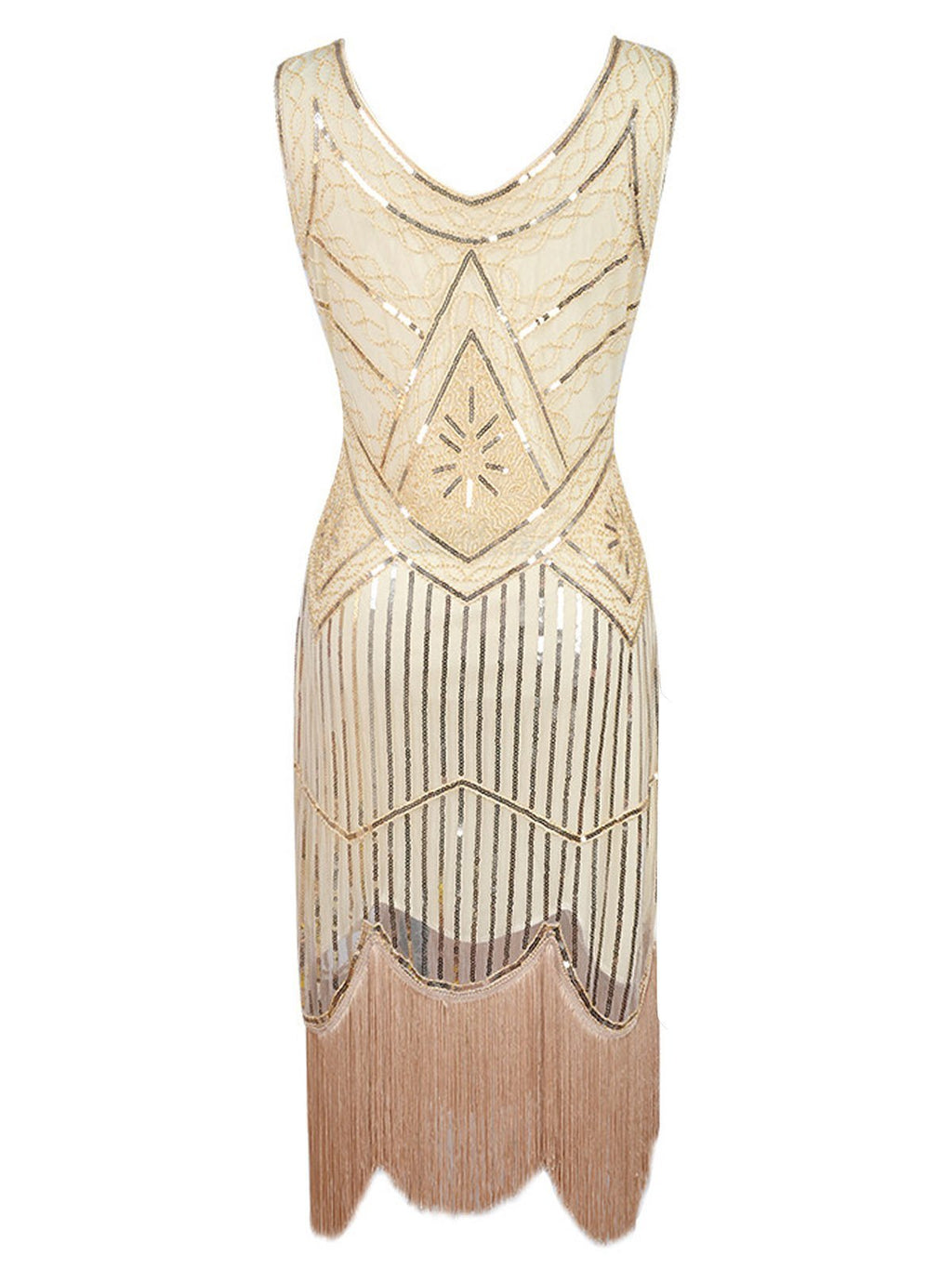 Apricot 1920s Beaded Sequin  Flapper Dress