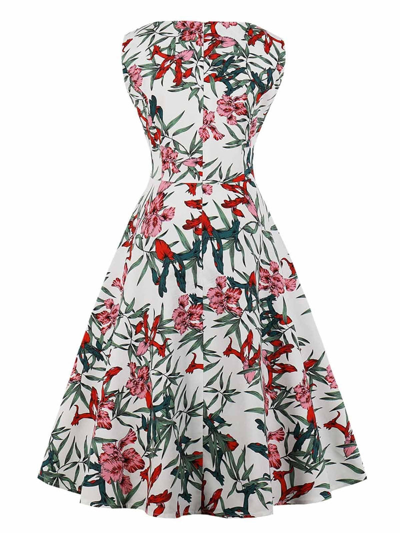 1950s Floral Print  Sleeveless Swing Dress