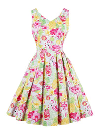 1950s Floral Print Sleeveless Dress