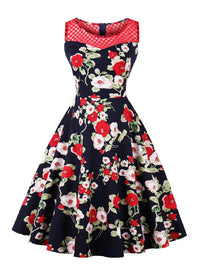 Red 1950s Floral Print Sleeveless Dress