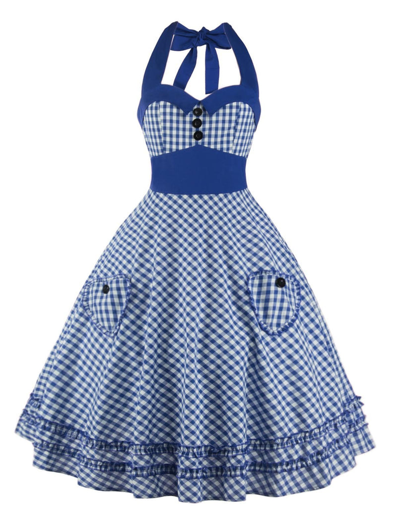 1950s Plaid Pocket Halter Swing Dress