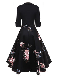 1950s Floral Print Patchwork Swing Dress