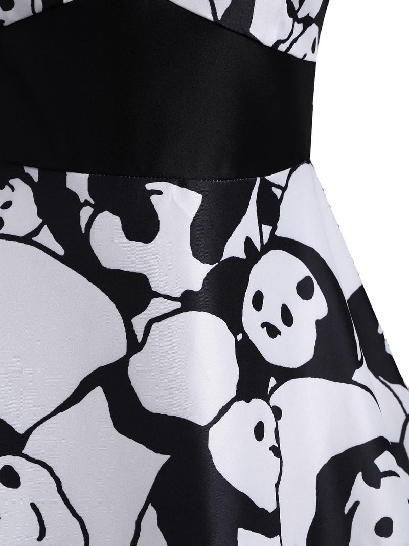 White 1950s Panda Print Swing Dress