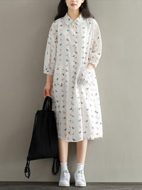Little birds Printed Comfortable Long Shirt Dress