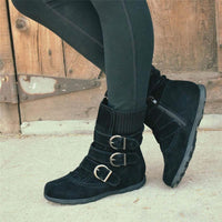 Women's Cushioned Low-Calf Knitted Fabric Low Heel Buckled Boots