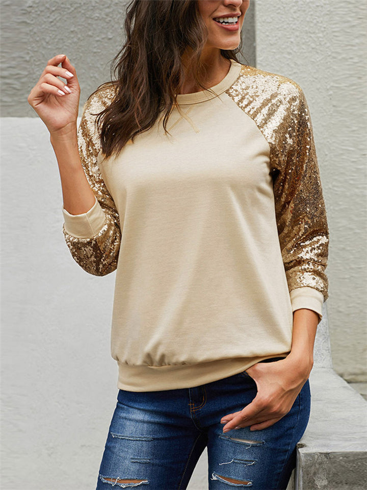 Stylish Round Collar Sequins Long Sleeve Solid Color Tops
