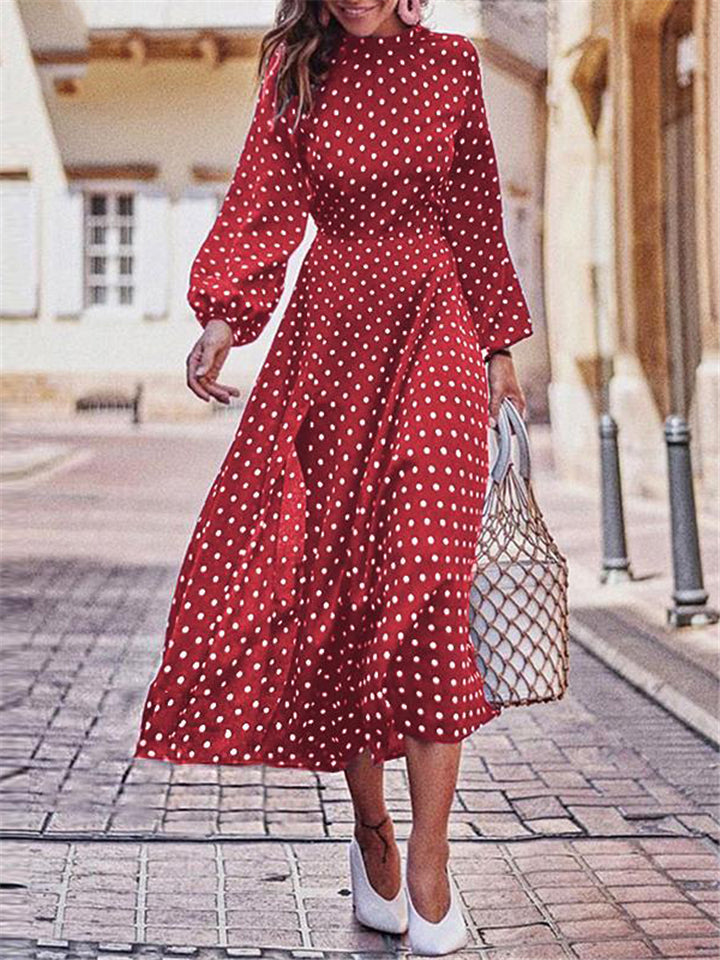 Trendy Polka Dot Elastic Sleeve Cuff Asymmetric Hem Long Dress