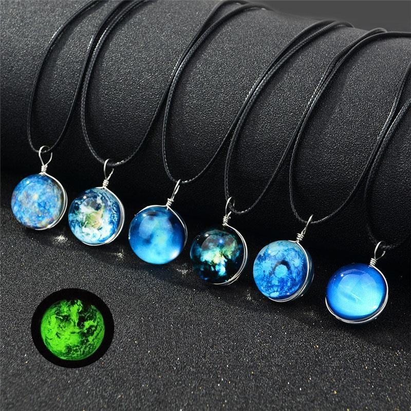 Double-sided Handmade Glass Ball Luminous Necklace