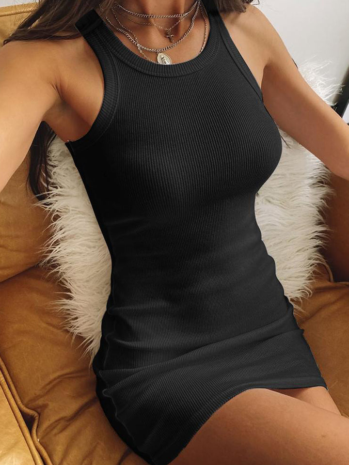 Sexy Solid Color Sweater Tank Dress