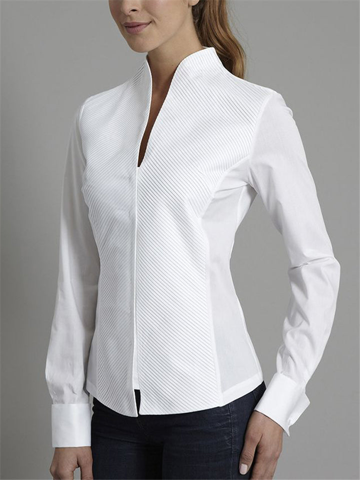 Slim Fit White Stand Collar Long Sleeve Blouse