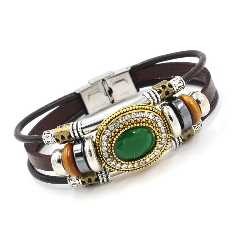 Vintage Multilayer Bracelet Leather Rhinestone  Bracelets Ethnic Jewelry