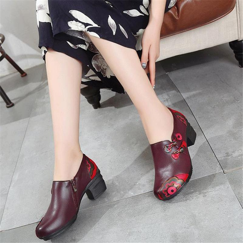 Retro Style Mid Heel Genuine Leather Pumps