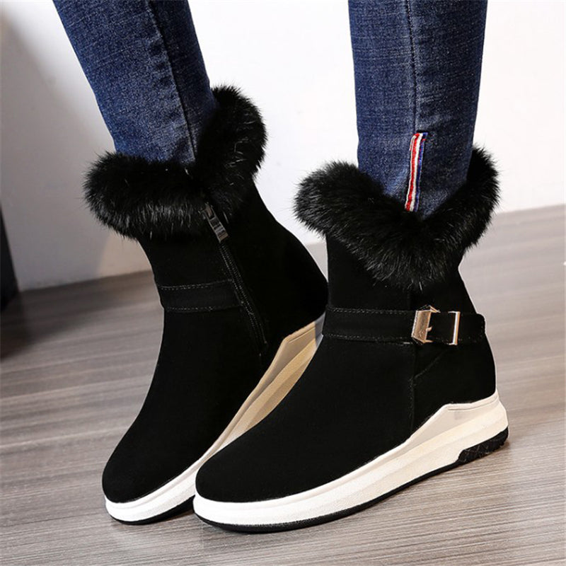 Cozy Warm Anti-Slip Fur Trim Side Zipper Buckle Up Snow Boots
