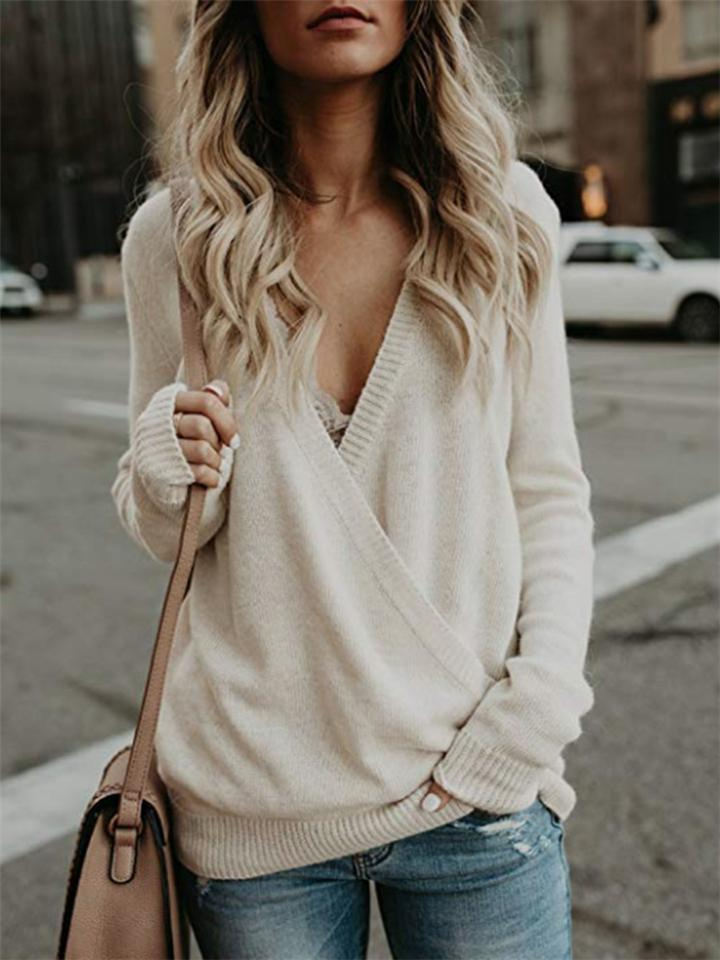Solid Color Long-Sleeve Deep V neck Knit Sweater