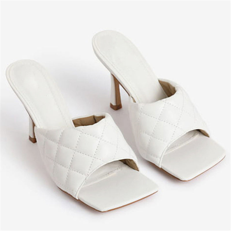 Women's Fashion Waffle Pattern High Heel Slippers