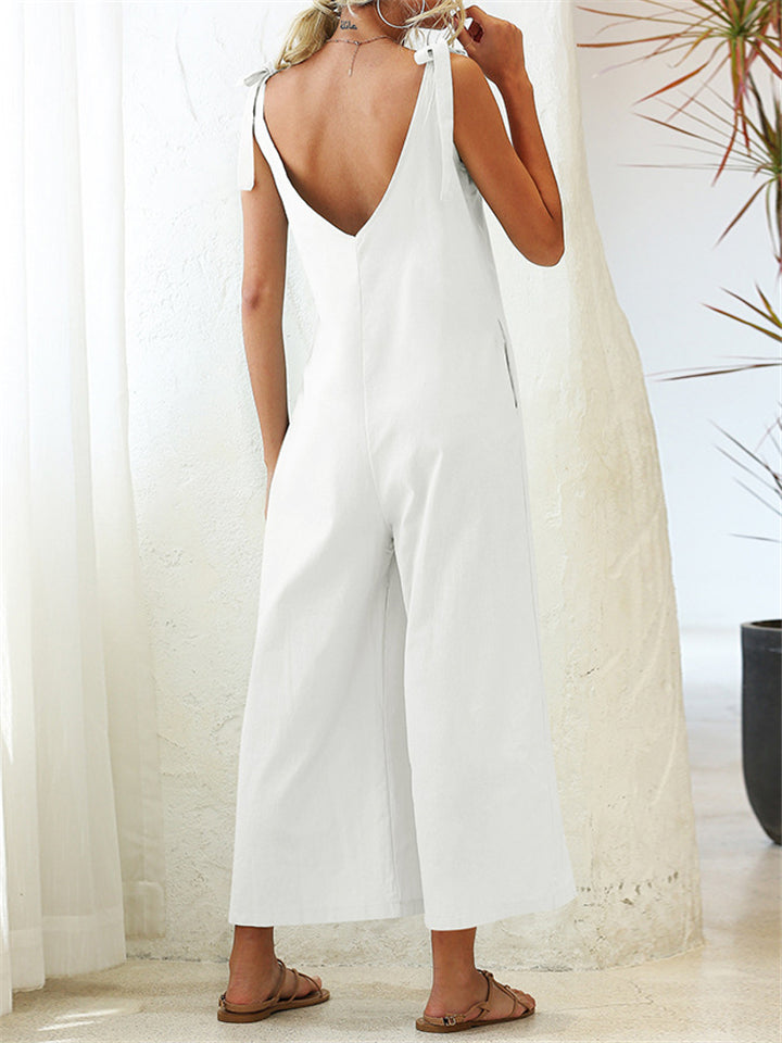 Women's Stylish Solid Color Sleeveless Loose Jumpsuit With Pocket