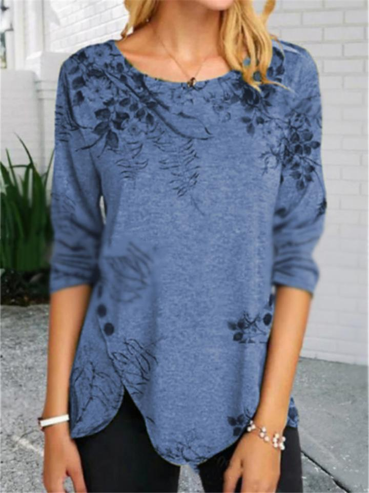 Casual Floral Print Symmetric Long Sleeve Shirt