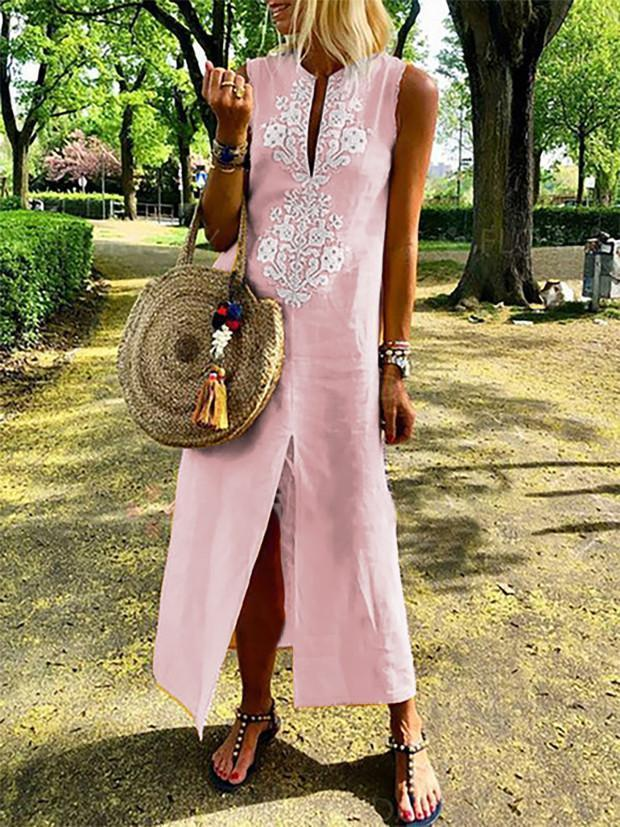 Floral Crew Neck Casual Maxi Dress For Women
