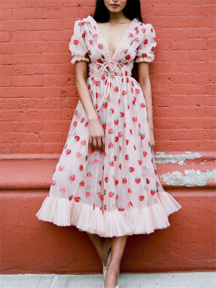Flowing Pink Tulle Strawberry Midi Dress