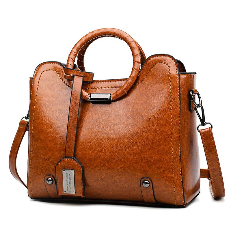 Trendy Elegant Large Capacity Leather Handbag