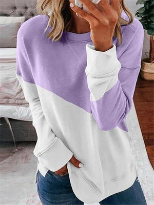Women Round Neck Long Sleeve Cotton Basic Top