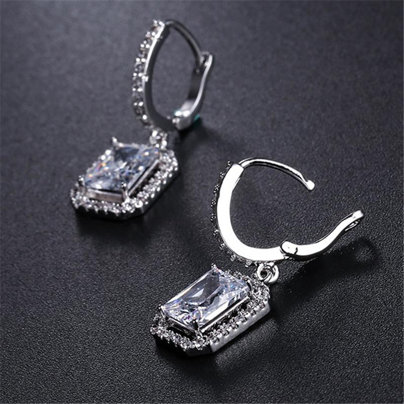 Shiny Square Shaped Dangled Hoop Earrings