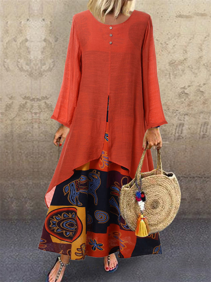 Ethnic Style Floral Printed Cotton Linen Long Sleeve Maxi Dress