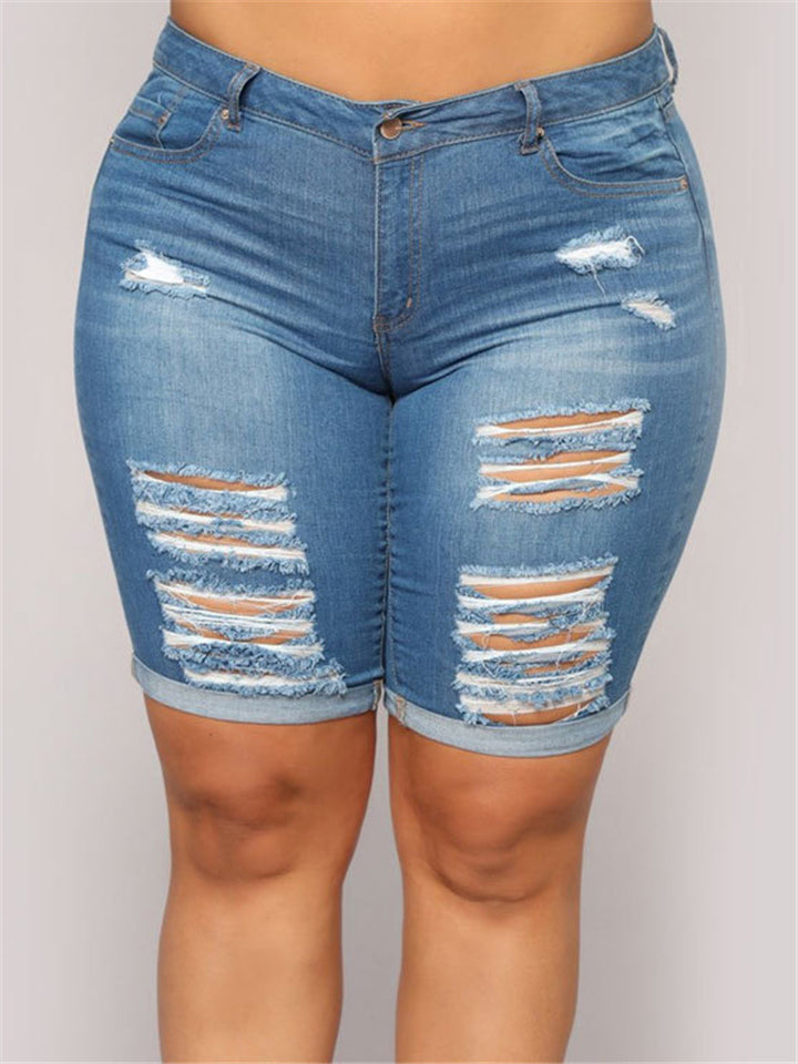 Fashion Washed Effect Ripped Rolled Hem Denim Shorts