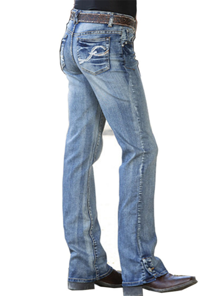 Casual Style Mid-Rise Embroidered Washed Effect Pocket Jeans