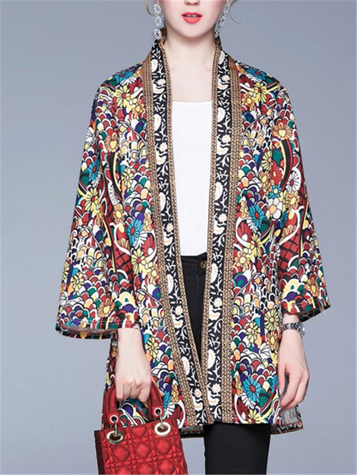 Vintage Style Midi Length Floral Print Long Sleeve Cardigan Jackets