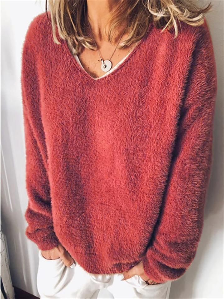 Loose Solid Color Long Sleeve Pullover Fur Top