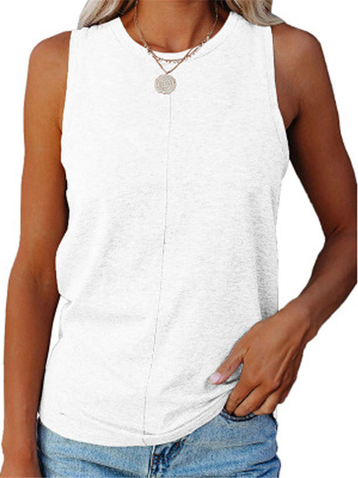 Relaxed Fit Round Neck Sleeveless Solid Color Tank Top
