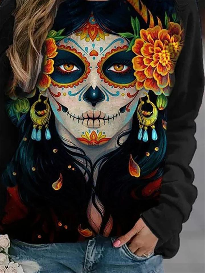 Halloween Costume La Calavera Catrina Black Long Sleeve T-shirt