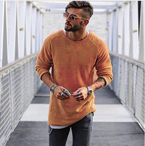 Men's Fashion Solid Color O-Neck Knitting T-shirt