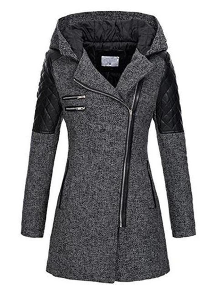 Women's Warm Asymmetric Design Hooded Coat