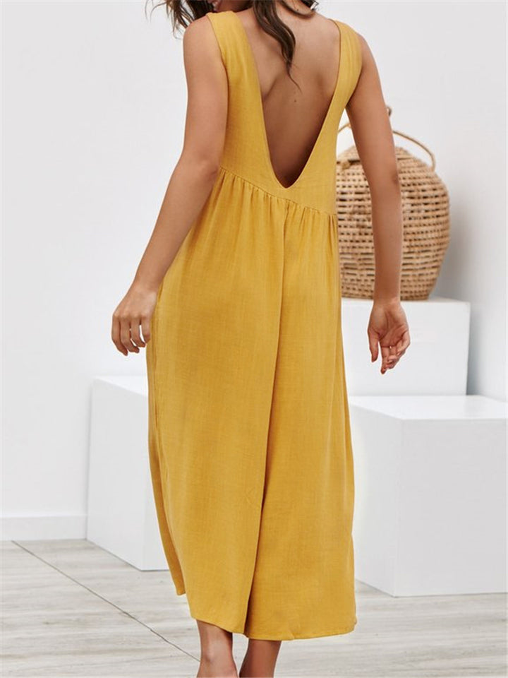Casual Sleeveless Cut Out Back Loose Jumpsuits