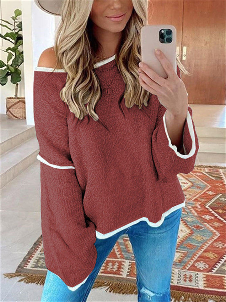 Loose Fit Round Neck Long Sleeve Solid Color Knitted Pullover Tops
