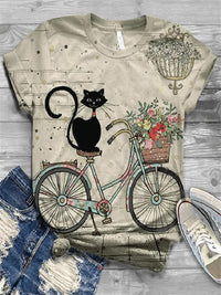 Cute Animal-printed Multi-color Short Sleeve