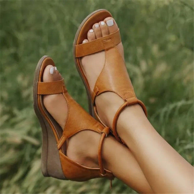 Comfortable Ankle Strap Wedge Sandals