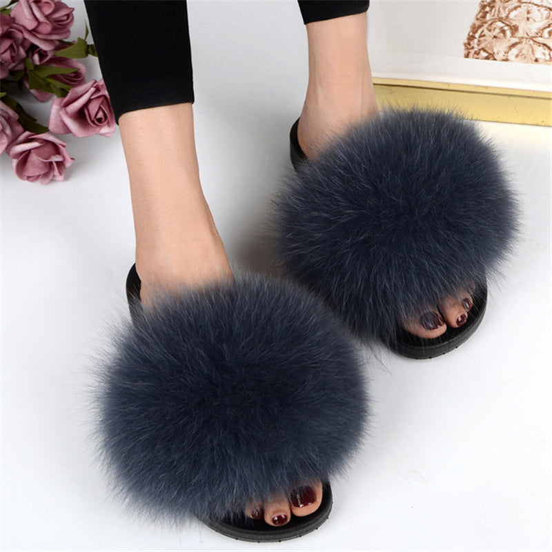 Stylish Soft Genuine Fur Deco Non-Slip Open-Toe Flat Slippers