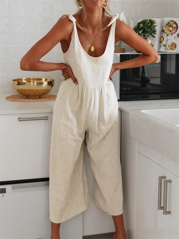 Relaxed Fit Strap Scoop Neck Solid Color Wide Leg Cotton Jumpsuit