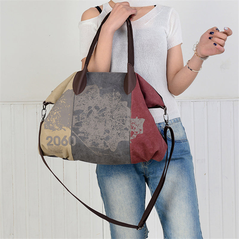 Fashion Retro Leisure Large Capacity Travel Canvas Cross-body Bag