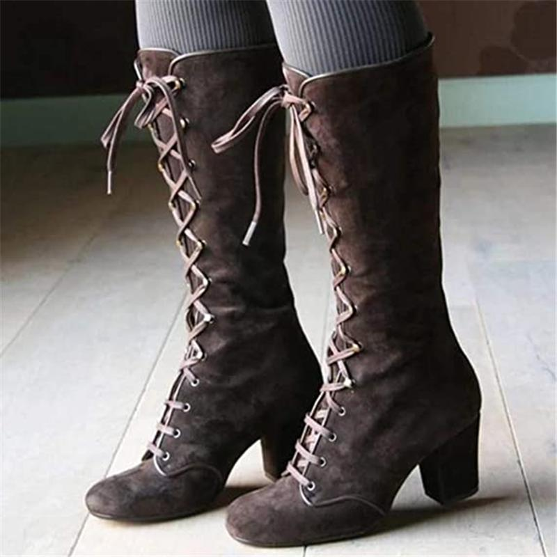 Retro Women Knee High Strappy Lace Up Block Heel Mid-Calf Riding Boots