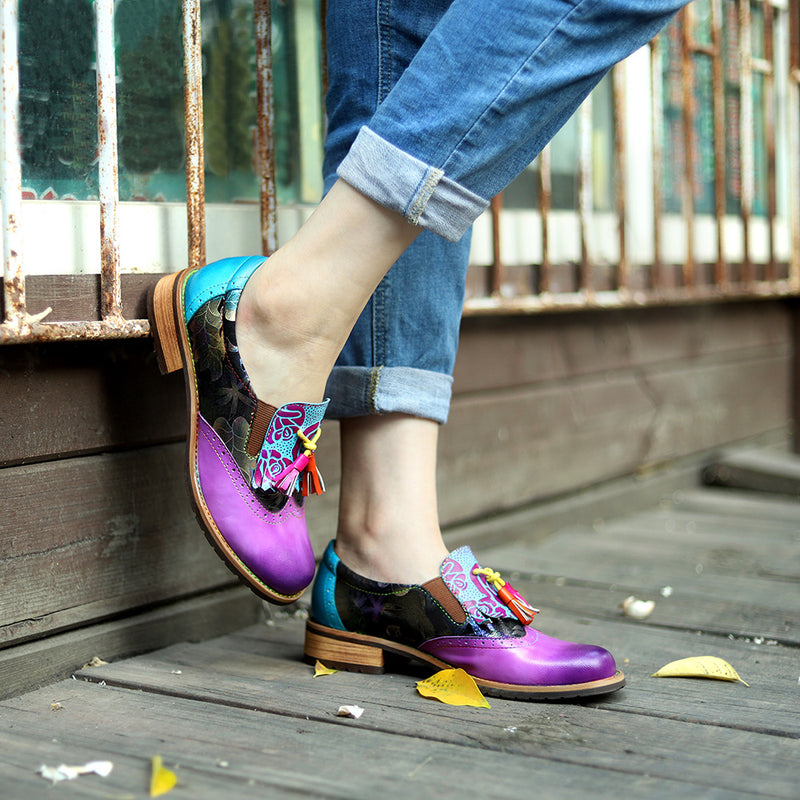 High Quality Royal Purple Genuine Leather Shoes For Women