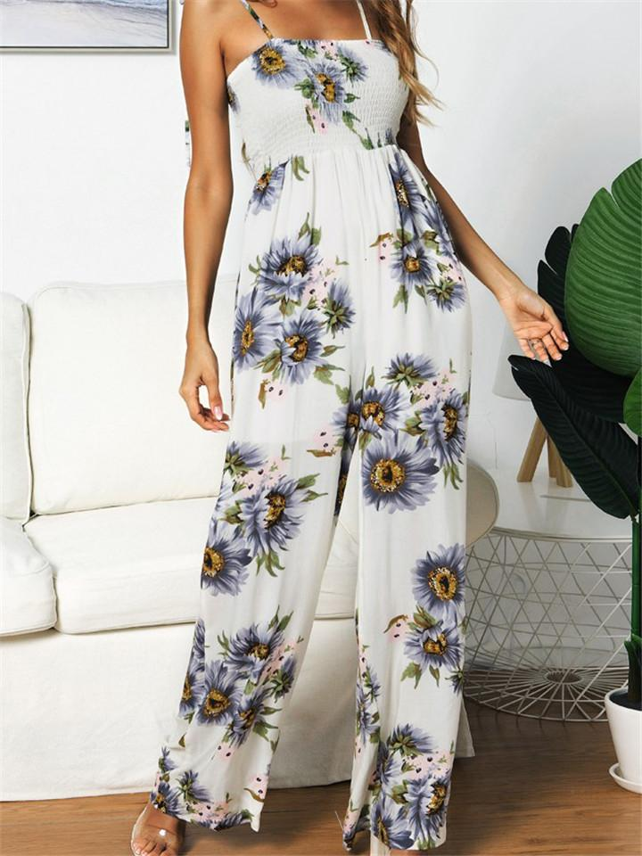 Sunflower Print Bandage Jumpsuit