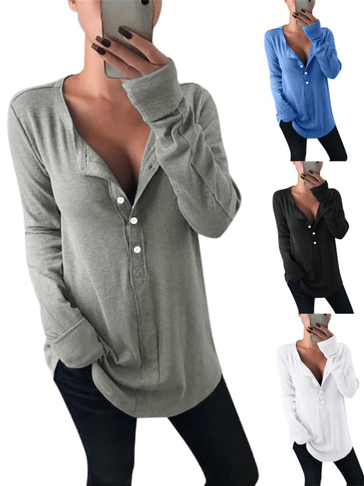 Relaxed Fit Half Buttoned Long Sleeve Solid Shirt