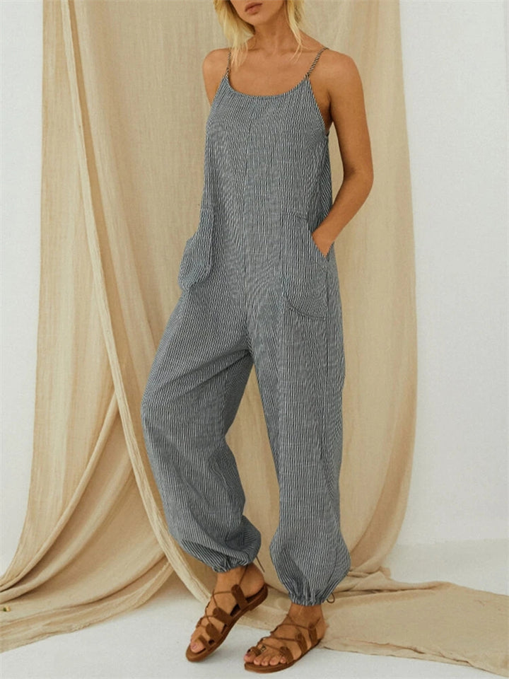 Women's Striped Loose Jumpsuit With Pockets