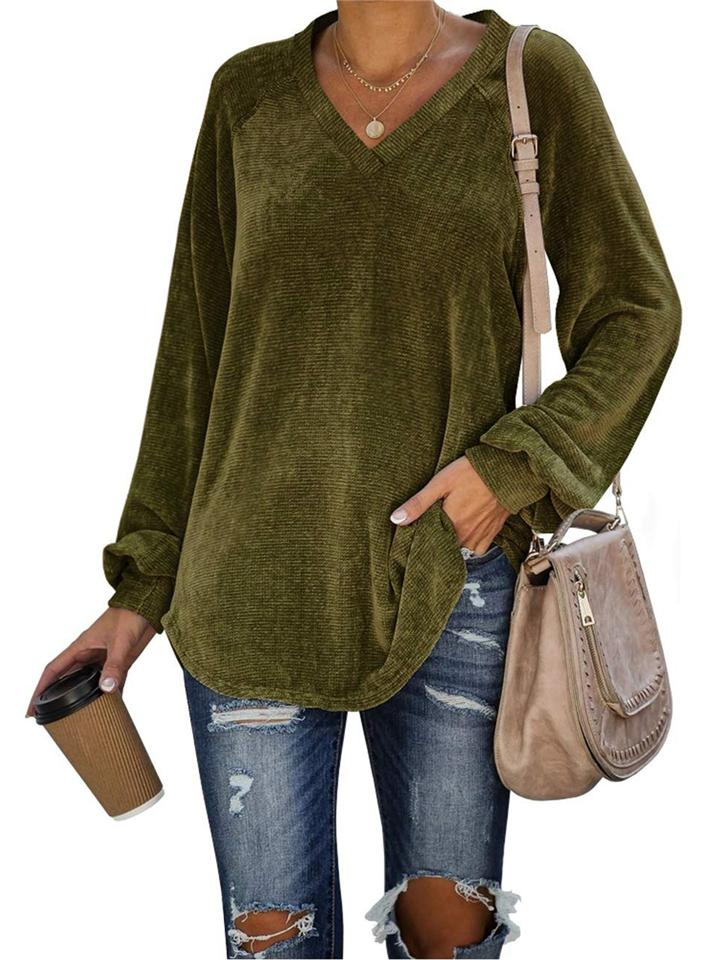 Women Daily Casual Corduroy V Neck Long Sleeve T-shirt