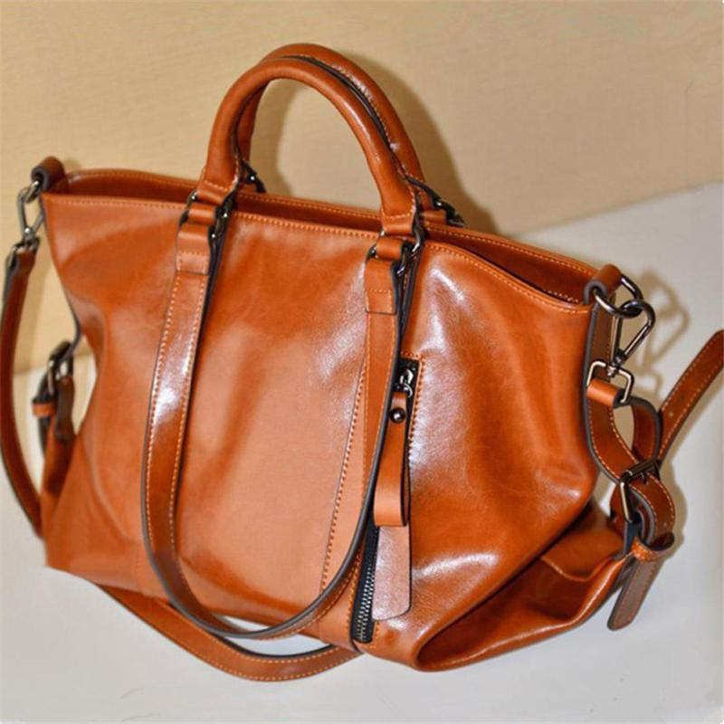 Women Retro Soft Oiled Leather Versatile Handbag Shoulder Bags Tote